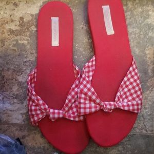 Red and white gingham sandal